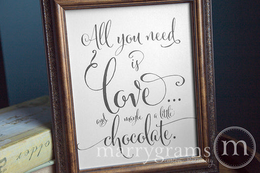 All You Need Is Love Candy Buffet Sign Whimsical Style Wedding Dessert Bar