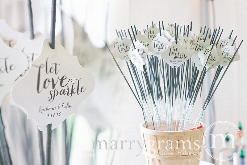 Let Love Sparkle Wedding Sparkler Tags Thick Style