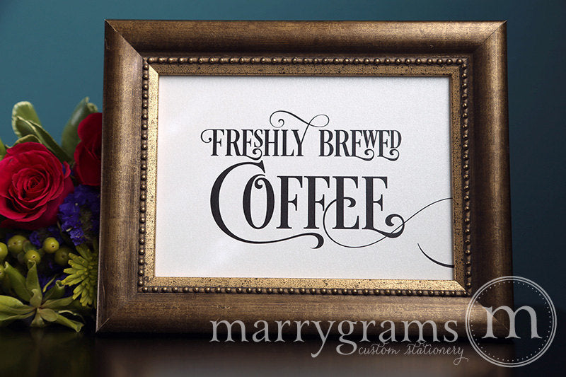 Freshly Brewed Coffee Wedding Sign Enchanting Style