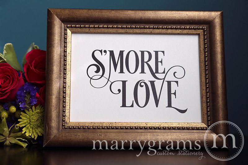 S'more Love Wedding Candy Buffet Sign Enchanting Style