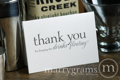 Keeping the Drinks Flowing Bartender Thank You Card Serif Style