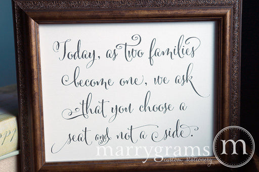 As Two Families Become One Seating Sign Whimsical Style
