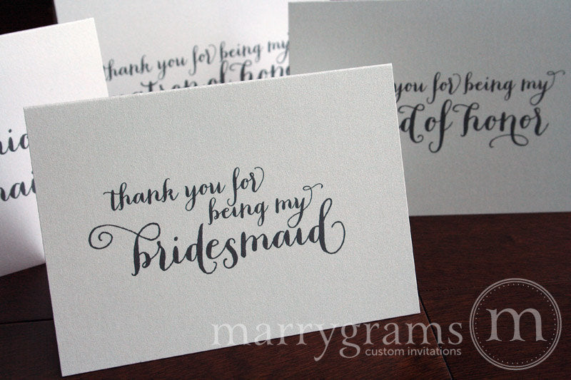 Bridal Party Thank You Card Thick Style - thank you for being my bridesmaid, maid of honor, matron of honor, flower girl, junior bridesmaid, house party, personal attendant