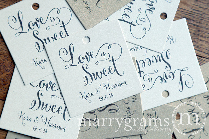 Love is Sweet Custom Wedding Favor Tag Whimsical Style