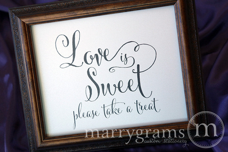 Love is Sweet, Please Take a Treat Sign Whimsical Style