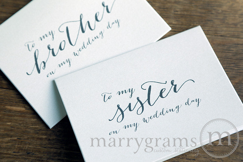 To My Family brother and sister Wedding Day Card Handwritten Style