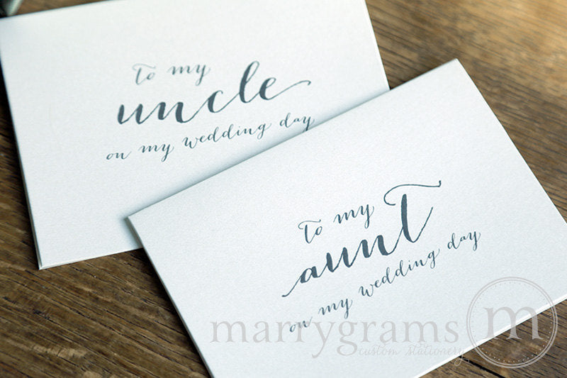 To My Family uncle and aunt Wedding Day Card Handwritten Style