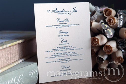 Custom Wedding Reception Menu Calligraphy Style