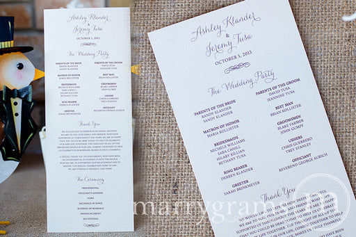 Flat Wedding Program Thin Style
