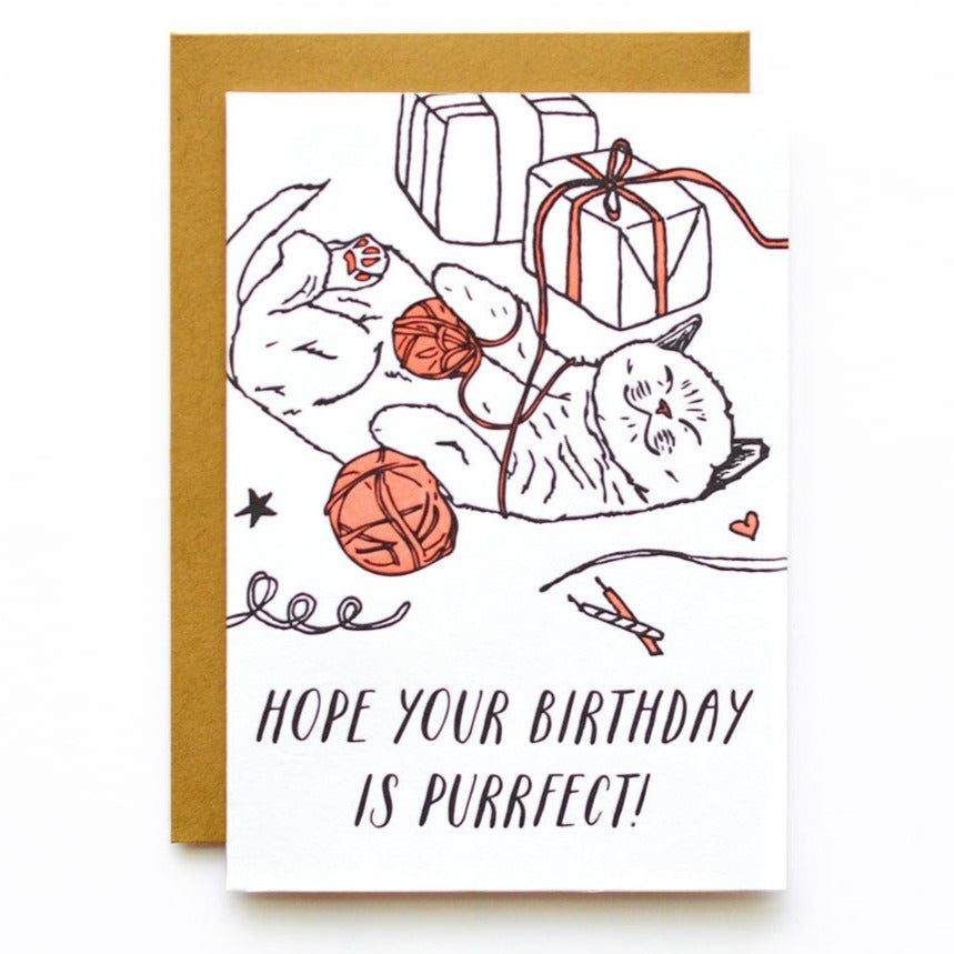 hope your birthday is purrfect cat with yarn and presents card