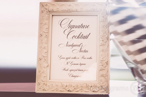 Signature Cocktails Custom Wedding Bar Sign Calligraphy Style