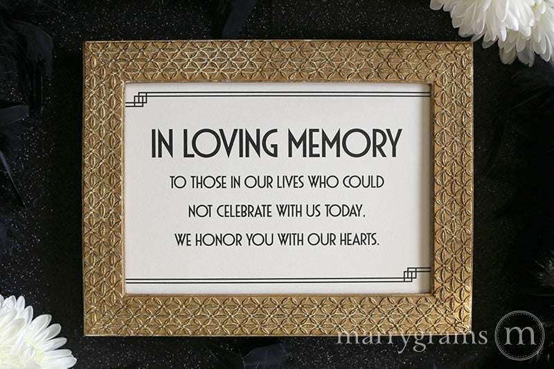 In Loving Memory Wedding Memorial Sign Deco Style