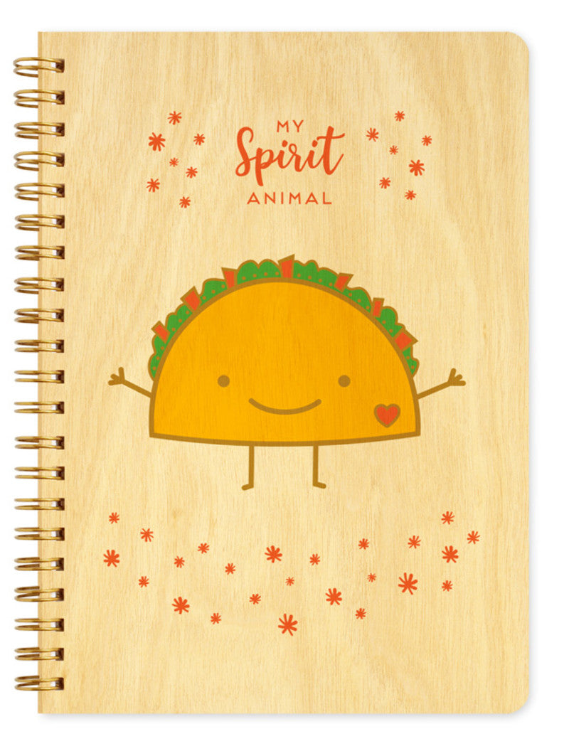 Wood Large Notebook Taco is my spirit animal
