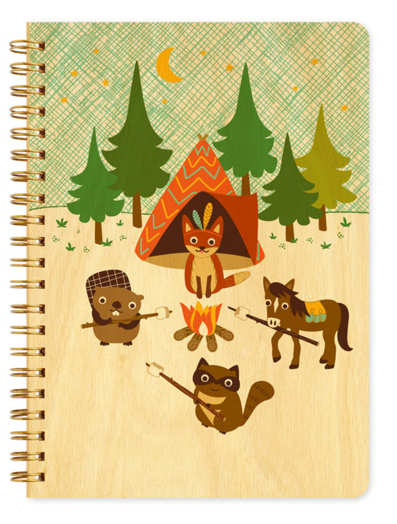 Wood Large Notebook camping critters