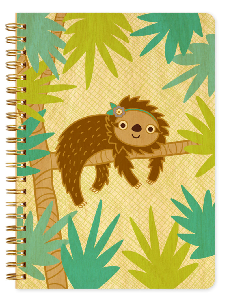 Wood Large Notebook Sloth