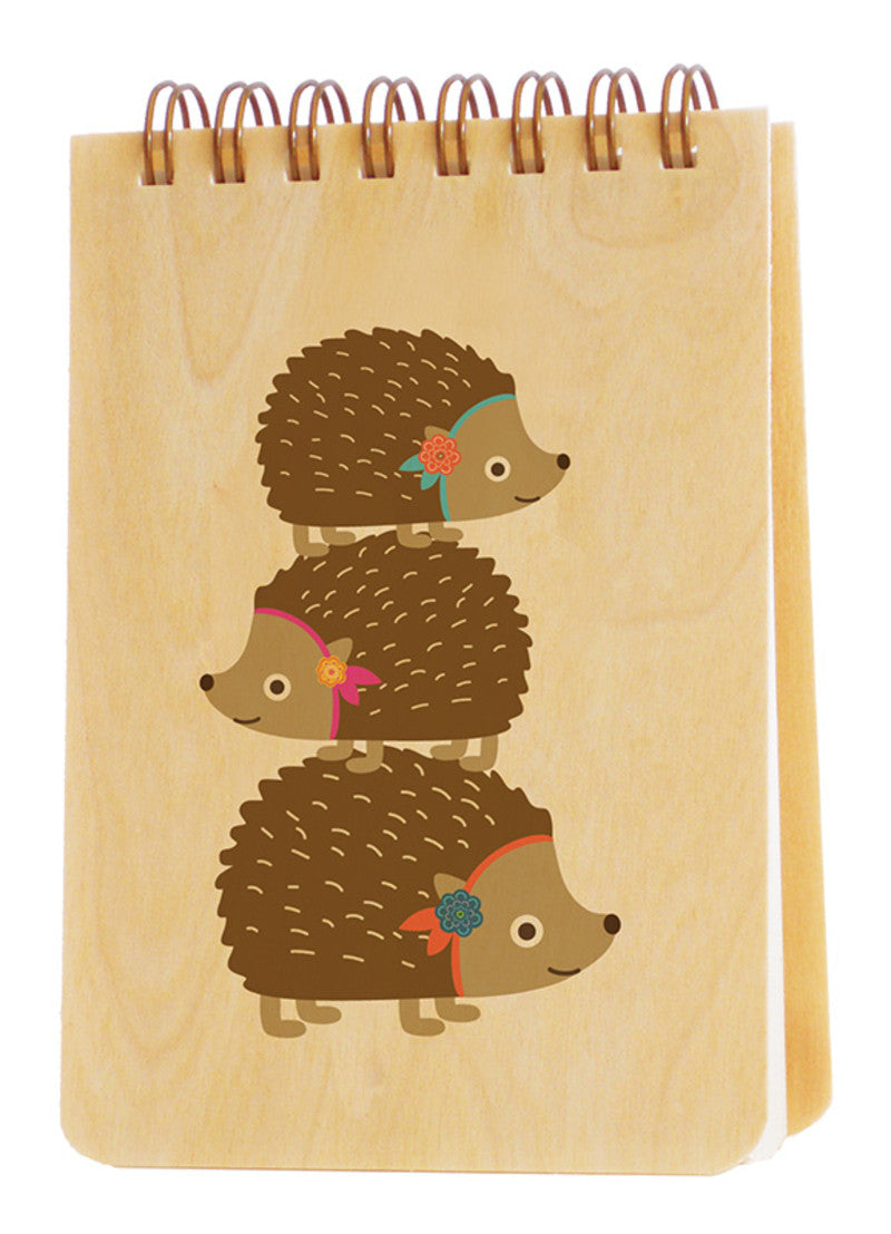 Wood Mini Notebook stacked hedgehogs