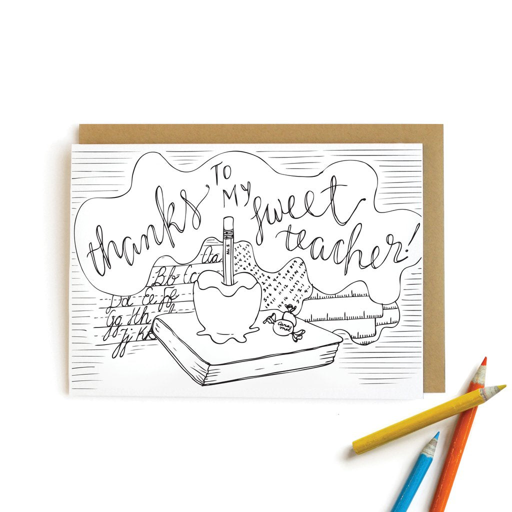 Apple Teacher Thank You Coloring Card