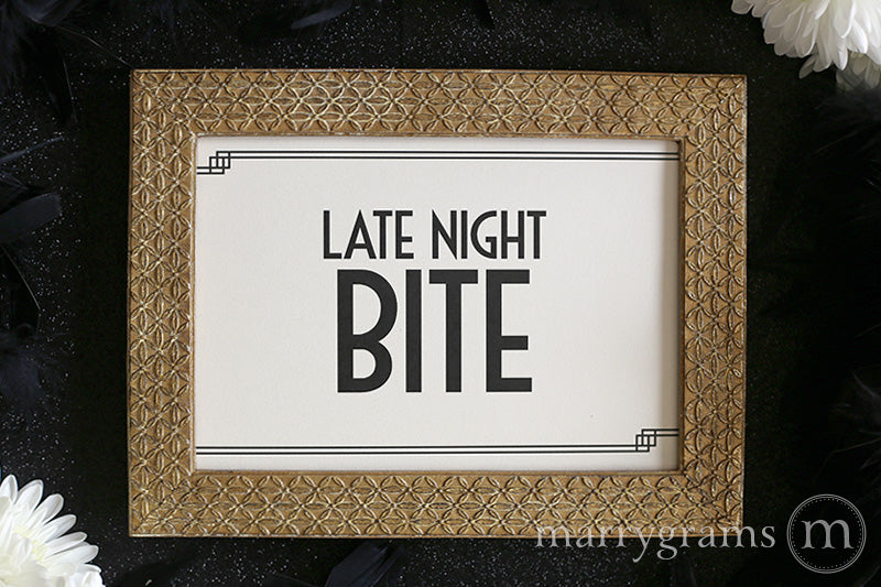 Late Night Bite Wedding Reception Sign Deco Style