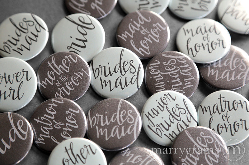 Bridal Party Buttons Aqua & Charcoal - bridesmaid, maid of honor, matron of honor, flower girl, junior bridesmaid, bride, mother of the bride and groom buttons