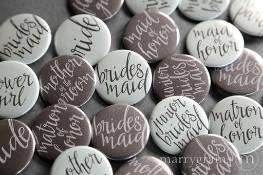 Bridal Party Buttons Aqua & Charcoal