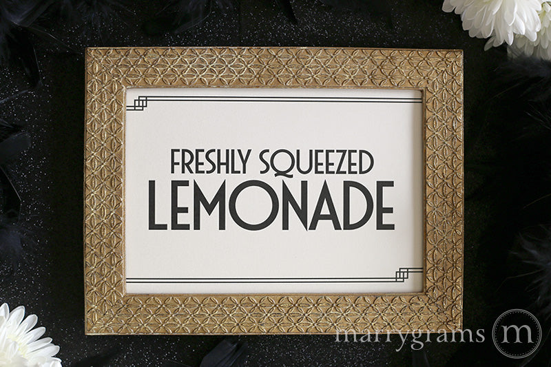 Freshly Squeezed Lemonade Wedding Sign Deco Style