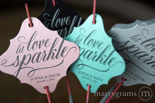 Let Love Sparkle Calligraphy Style Sparkler Tags