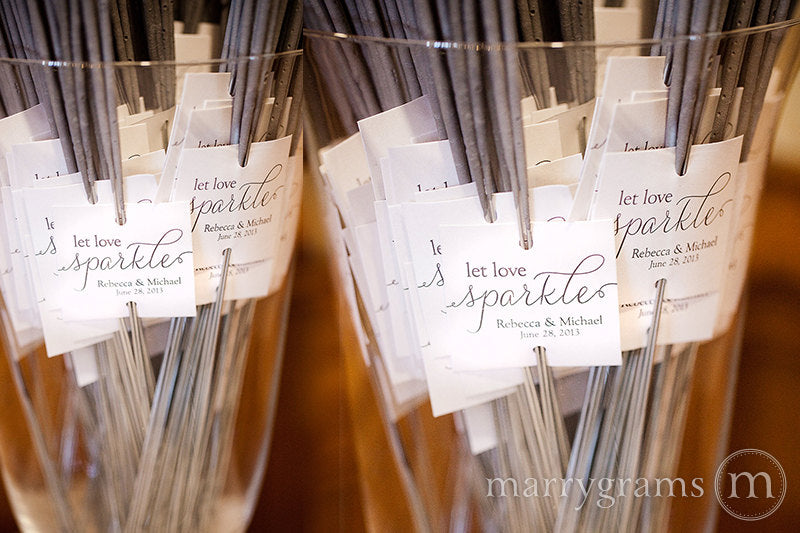 Let Love Sparkle Wedding Sparkler Tags Thin Style