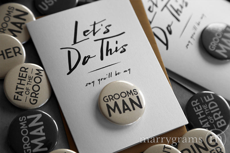 Let's Do This Groomsman Button Cards