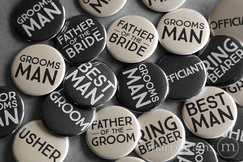Guys Bridal Party Buttons Champagne & Black