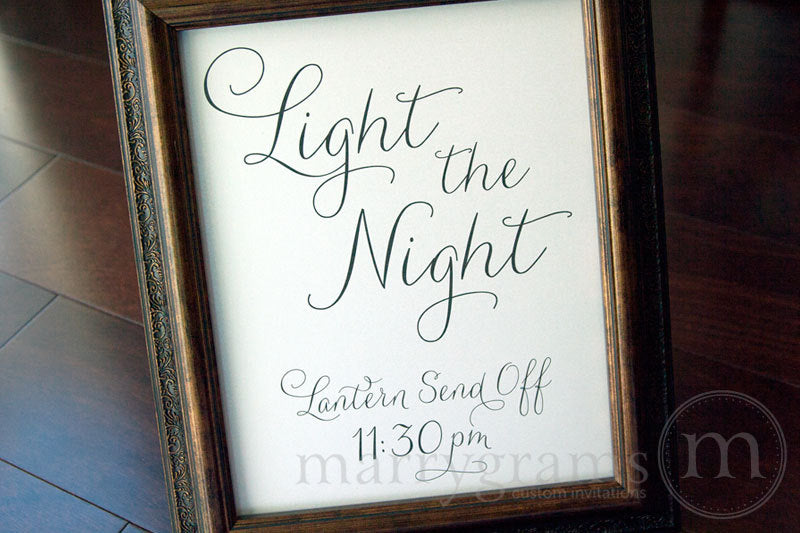 Light the Night Lantern Custom Wedding Send Off Sign Thin Style