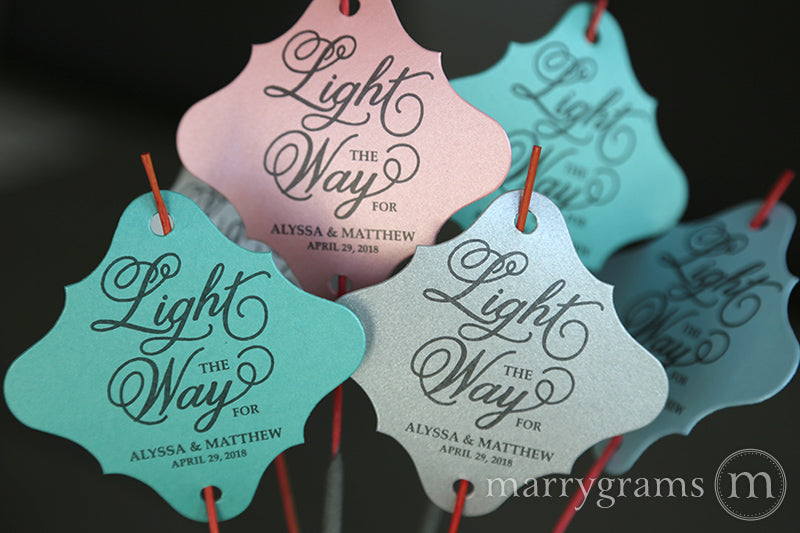Light the Way Wedding Sparkler Send Off Tags Curly Style