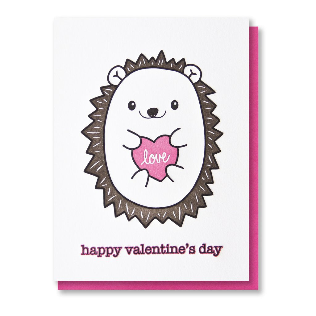 Happy Valentine's Day Hedgehog Card
