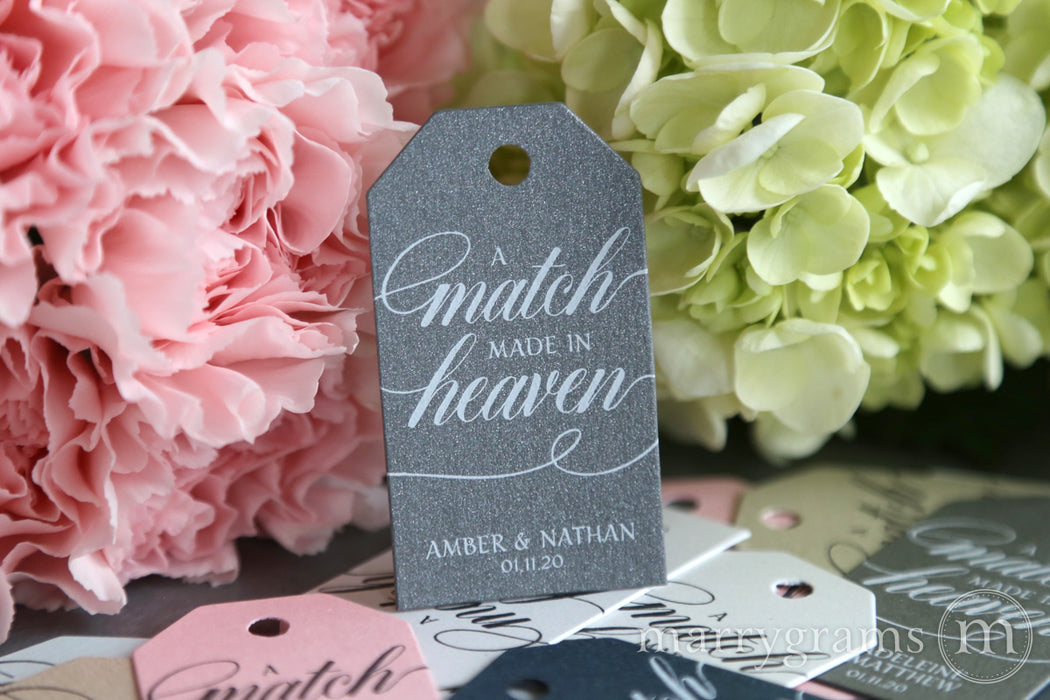 A Match Made in Heaven Wedding Favor Tags Calligraphy Style
