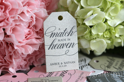 A Match Made in Heaven Favor Tags Calligraphy Style