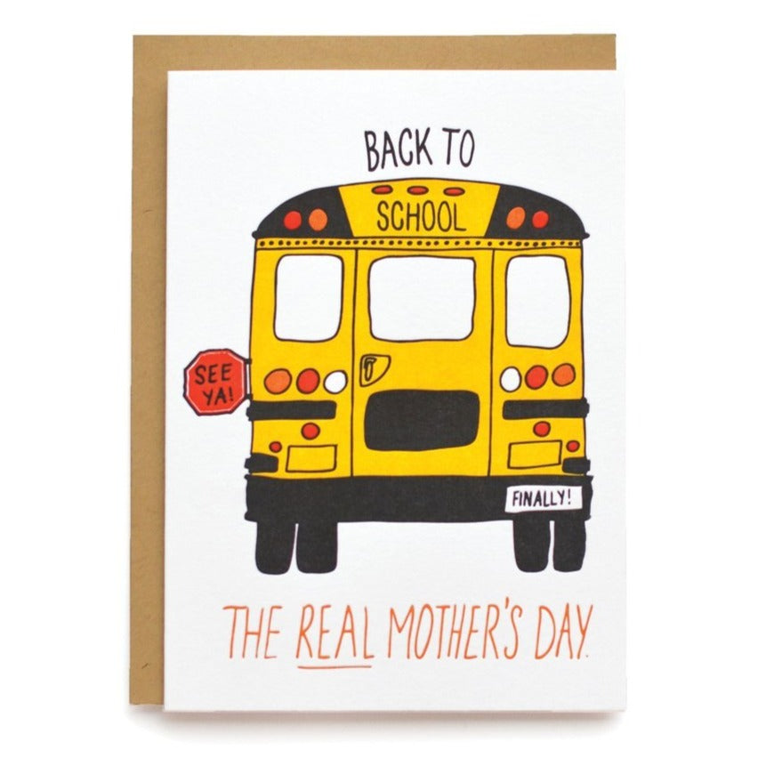 Back to School Real Mother's Day Letterpress Card