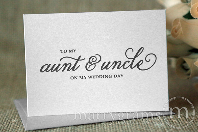 To My Family aunt and uncle Wedding Day Card Curly Style