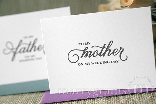 To My Family mother and father Wedding Day Card Curly Style