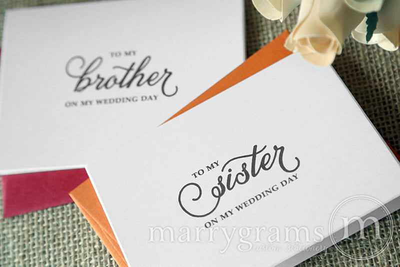 To My Family brother and sister Wedding Day Card Curly Style