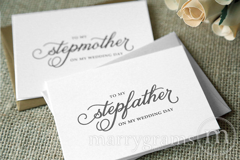 To My Family stepmother and stepfather Wedding Day Card Curly Style