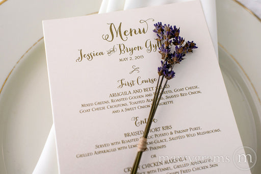 Custom Wedding Reception Menu Thick Style