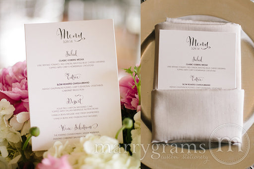 Custom Wedding Reception Menu Whimsical Style