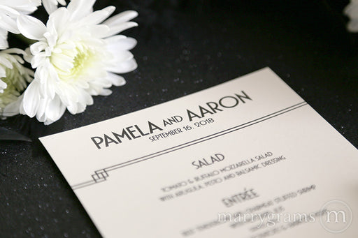 Custom Wedding Reception Menu Deco Style