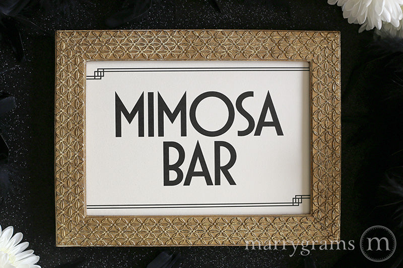 Mimosa Bar Wedding Drinks Sign Deco Style