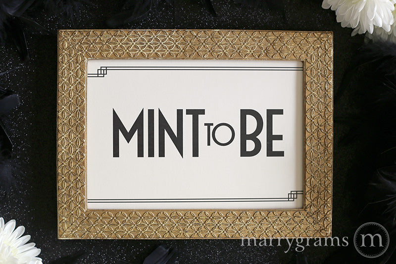 Mint To Be Wedding Favor Table Sign Deco Style
