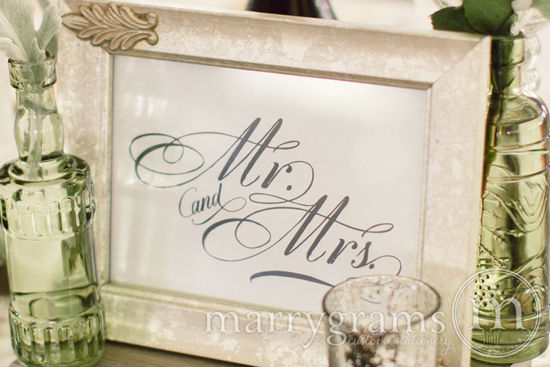 Mr. and Mrs. Sweetheart Table Sign Calligraphy Style