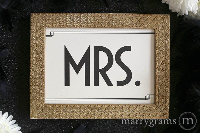 Mr. and Mrs. Wedding Reception Signs Deco Style