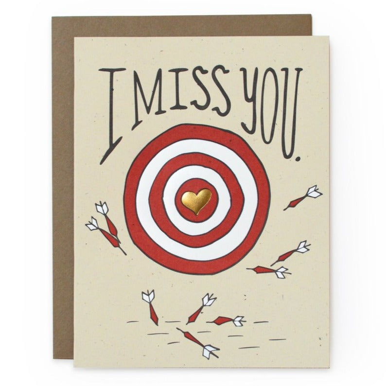 I miss card with darts and arrows target