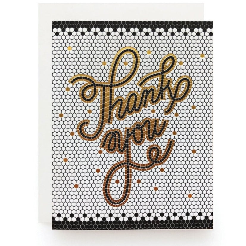 Thank you mosaic tile foil stamped card
