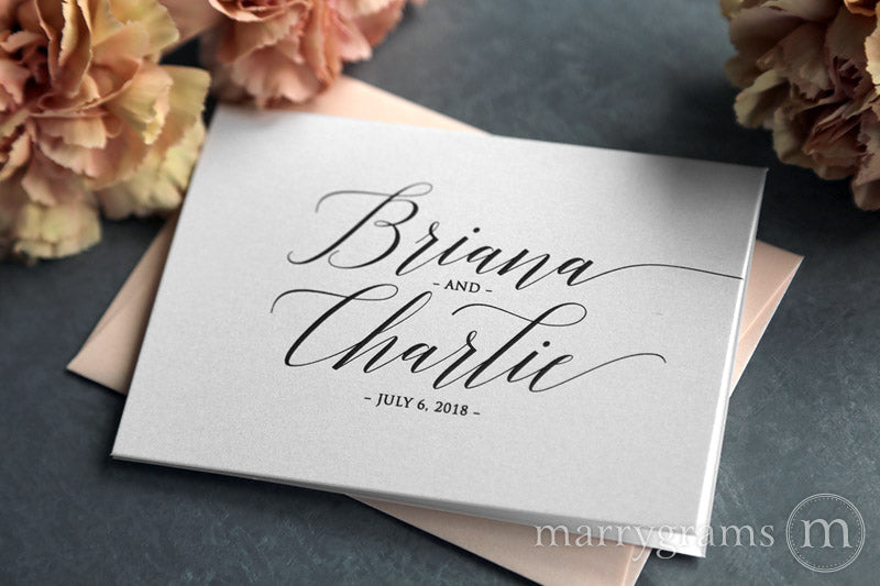 Custom Name & Date Wedding Thank You Card Delicate Style