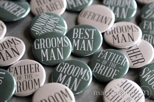 Guys Bridal Party Buttons Silver & Evergreen